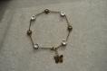 """Bracelet de cheville """" silver """" fleurs en verre tchèque argentées"""