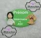 Badge asv ou vétérinaire, fimo / porcelaine froide, personnalisable.