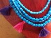 Collier de perles rondes et ovales en verre de briare style ethnique vintage
