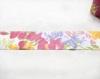 Biais plat coton fleurs multicolores 65 mm / qualité supérieure