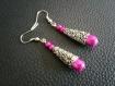 Boucles d'oreilles pendantes perles magiques gouttes scintillantes roses