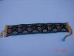 1 bracelet en ruban ancien brodé bleu rose doré noir et velours cousu main fermoir mousqueton doré