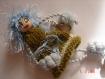 1 bijoux de sac poupée nalisadette cheveux bleus breloque porte clef fait main
