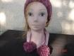 Bandeau unique , serre tête ,passe , headband taille adulte ou fillette tricoté fait main en laine chinée pompons