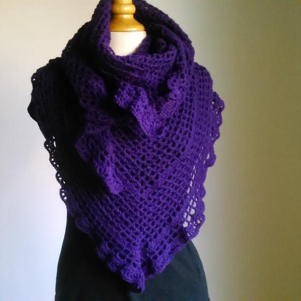 Crochet  châle en laine mérinos et acrylique violet   accessoires ... 05267d9418f