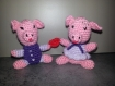 Petits cochons unis par un coeur - saint-valentin - modèle unique
