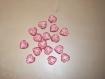 Lot de 16 perles pendentifs coeurs roses