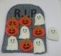 Jeu morpion halloween cimetière feutrine gris et orange