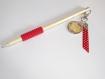 Crayon maitresse avec porte clé amovible ,cabochon en verre 2.5cm , merci maitresse noeud ton noir
