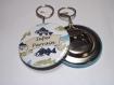 Décapsuleur porte clé /5,8cm de diamètre/super parrain,poisson ,cadeau bapteme, anniversaire (personnalisable)