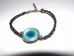 Jolie bracelet simili cuir tresse noir , avec cabochon en verre rond 18mm , mandala bleu