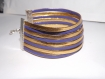 Manchette/ bracelet à lannière doré et violet prune, imitation cuir ,8 rangs