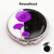 Miroir de poche refermable , cabochon resine coquelicot design violet