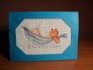 Carte félicitations naissance garçon brodée au point de croix: bébé dans hamac