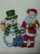 Cadre broderie point de croix neuf,bonhomme de neige ami du père-noël
