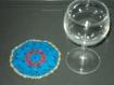 6 napperons ou dessous de verre fait main au crochet coton bleu