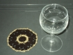 6 napperons ou dessous de verre fait main au crochet coton marron