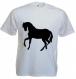 """Tee-shirt homme, blanc, manches courtes, imprimé """"silhouette de cheval"""""""