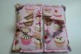 Sac à tarte molletonné réversible avec tissu rose cupcakes et coton blanc