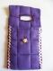 Etui porte-chargeur de téléphone portable en coton matelassé violet