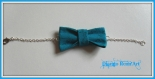 Bracelet noeud papillon en tissu turquoise