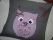 Housse de coussin personnalisable enfant sur mesure chouette et prénom tissu et motif au choix personnalisable