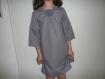 * jolie petite robe fille coton forme tunique à carreaux 8 ton parme grisé