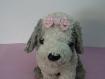 Barrette petit noeud vichy rose et blanc pour chien