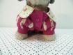 Robe en coton fuchsia et à motif fleuri pour chien
