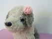 Barrette petit fleur rose en dentelle pour petit chien
