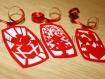 Etiquettes de noël en kirigami rouge et blanc