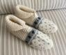 Chaussons 38/40 pure laine, femme, enfant, jacquard tricotés main, anti dérapant lit, détente,