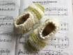 Chaussons pure laine, 26/28, tricotés main, rayés écru et vert.