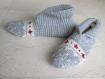 Sur commande chaussons 35/38 pure laine, femme, enfant, jacquard tricotés main, anti dérapant lit, détente,