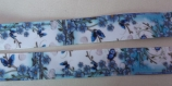 Ruban gros grain en polyester imprimé fleurs et papillons