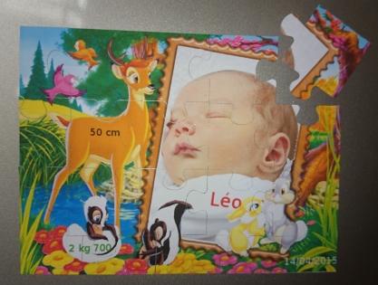 Faire part de naissance puzzle magnetique