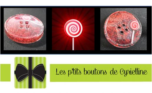 Bouton rond - sucette rouge et rose