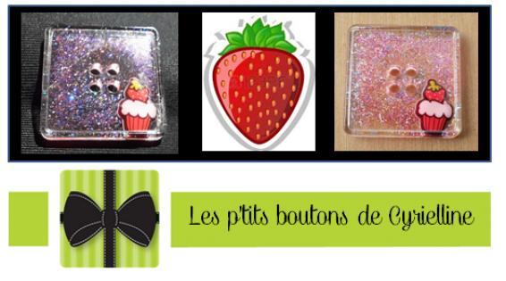 Bouton carré - cupcake à la fraise