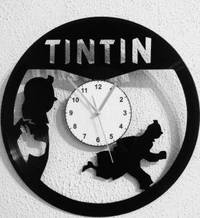 Pendule horloge tintin et milou en disque vinyle hergé