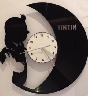 Pendule tintin et milou en disque vinyle horloge hergé