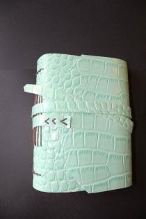 Carnet simili croco turquoise