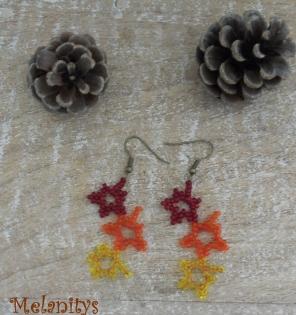 Boucles d'oreilles feuilles d'érables, couleurs d'automne