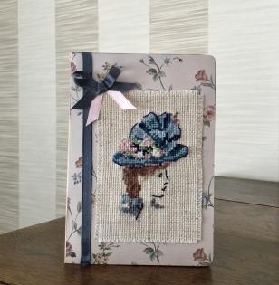 Carnet de note brodée silhouette retro