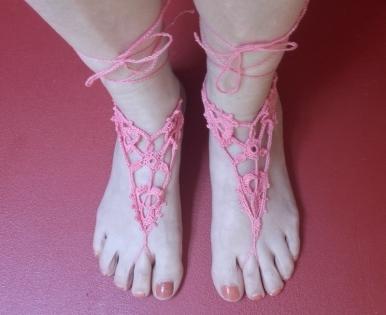 Bijou de pied coton rose