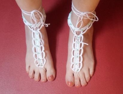 Bijou de pied en coton blanc