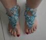 Bijou de pied coton bleu blanc et argent
