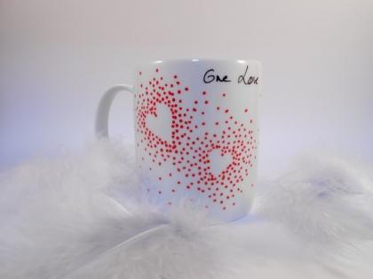 Soldes -15% mug porcelaine blanc - rouge -coeur
