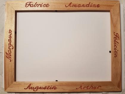 Cadre photo personnalisé, calligraphié et gravé à la main