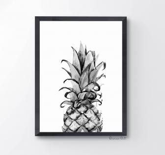 Affiche a4 / ananas black & white minimaliste