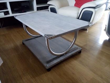 Table basse de salon bois et métal